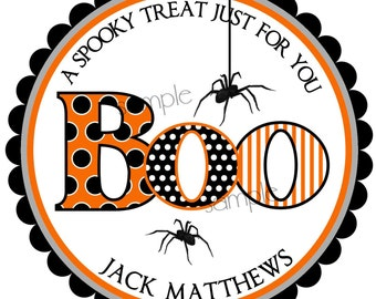Halloween Stickers, Boo,  favor bag stickers, Spider labels, Treat  Stickers, party favor labels, set of 12