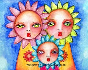 Sunflower Girls Art Print, Girl Illustration, Whimsical Art, Storybook Flowers, Mixed Media, 8 x 10, 5 x 7, multicolor, blue orange pink