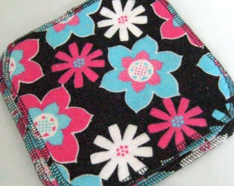 Black, White, Pink and Aqua Flower Double Layer Flannel Washcloths Set of 4