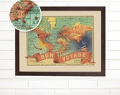 Push Pin Vintage Bon Voyage Travel Map