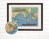 "Push Pin Custom Vintage ""Worldwide Adventures"" Map"
