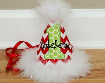 1st Birthday Christmas Party Hat Girl - Red and white chevron with lime green dots - Winter Wonderland