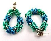 Chainmaille Earrings, Blue Earrings, Green Earrings, Colorful Earrings, Chainmail Hoops, Aqua Earrings, Silver Earrings, Chainmail Jewelry