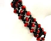Black Bracelet, Red Bracelet, Red Coral Bracelet, Beadwoven Jewelry, Handmade Beaded Bracelet, Bamboo Coral Bracelet