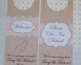 Hotel Door Hangers - RUSTIC BURLAP and LACE - Double Sided for Out of Town Wedding Guests - Do Not Disturb