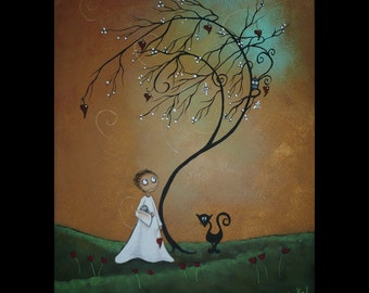 Whimsical Creeper Art Acrylic Canvas Painting  - Tree - Hedgehog - Creeper - Owl - Black Cat - A New Day