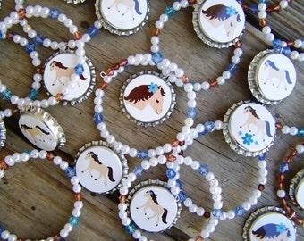 Denim and Pearls Horse Pony Birthday Party Favor Bracelet 6pk