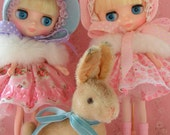 SALE....Vintage Bunny Toy.. Stuffed Mohair Plush.. Sweet Pet for Blythe, American Girl Dolls