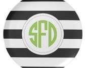Personalized 10 Inch Melamine Black and White Striped Monogram Plate - FREE Color Changes