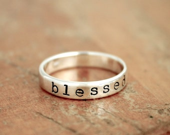 Blessed Ring - Sterling Silver Personalized Ring - Stacking Ring - Name Ring - Custom Band with Kids Names - Custom Jewelry