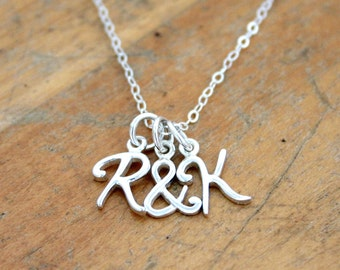 Bridesmaid personalized initial necklace - name necklace - bridesmaid jewelryLetters - Initial jewelry - Name & Ampersand - wedding gift