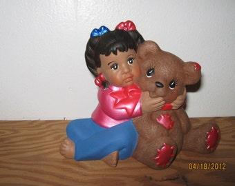 girl ,child,African American,child w/bear,shelf sitter,decoration,figurine