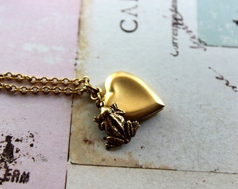 frog. heart locket necklace. gold ox jewelry