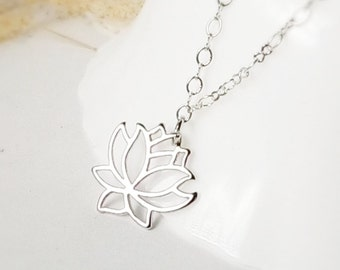 Lotus necklace, Silver water Lily necklace Vintage Style Charm Necklace, Nickle Free, Bridesmaid gift, Wedding accessories, gift for Mom