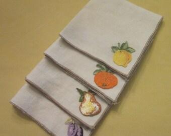 Vintage Linen Napkins - Four With Fruit Appliques