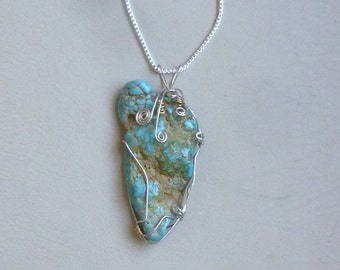 rough turquoise nugget sterling silver wire wrapped pendant with 26 inch sterling silver box chain