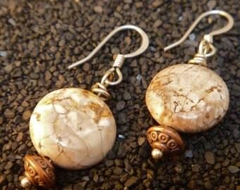 earthy natural brown desert impression jasper and copper earrings