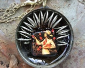"Pendant Rockabilly Necklace -""Sweetheart of the Rodeo"", found object  jewelry, Western Jewelry, Rockabilly Jewelry, Steam Punk, OOAK"