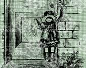 Digital Download Young Little Girl at Door, Vintage Illustration digi stamp, digital graphic, Antique Illustration Drawing, Child Transfer
