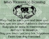 Digital Download Irish Marriage Blessing, Irish Verse with Claddagh Ring, elegant Wedding digi stamp, Love Typography, Digital Transfer