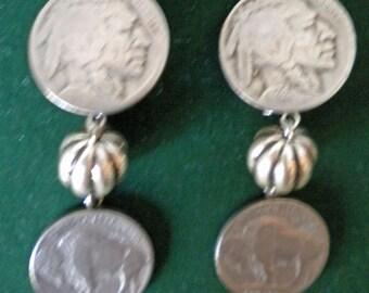 Vintage Indian Buffalo nickel clip-on earrings