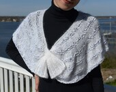 Angora Shawl, one end pulls through the other end for hands free wearing. Knitting PDF  pattern.