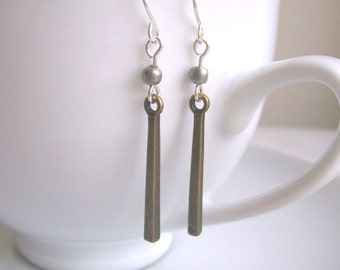 Petite Stick Mixed Metal Bar earrings - pewter and brass - minimalist jewellery - nickel free