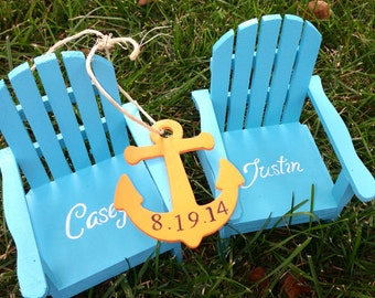 TM The Original Personalized Set of 2 Cake Topper Mini Adirondack Chair Decor Beach Lake Rustic Wedding Personalized  with Anchor
