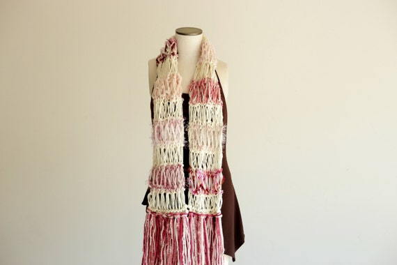 RESERVED Womens Scarf - Roses and Cream Thick, Warm, Hand Knit Shabby Chic. Victorian, Feminine, Lacy