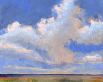 Original Landscape Painting on Canvas 8x8 Scandinavian Big Sky Clouds Horizon Sea Marshland
