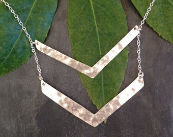 Large double chevron necklace- sterling silver-long