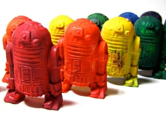 Kids ROBOT Crayons - Recycled Star Battle Robot Crayons - Set of 6 Recycled Crayons (Solid Color Recycled Rainbow Crayon Set) - Valentines