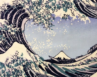 Hokusai Great Wave Off Kanagawa Japanese Oxford cotton in blue and white