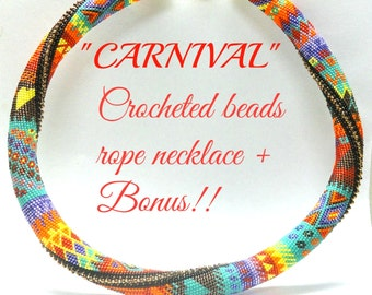 "Crocheted  Beads Rope necklace ""Carnival"" pattern Tutorial and bonus  for personal use only"