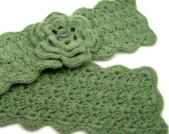 Sage Green Crochet Scarflette with Flower, Buttoned Scarflette, Buttoned Neck Warmer, SC146-01