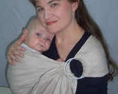 Linen Ring Sling - decorative stitch - Baby Sling Carrier - Sand 100% pure Flax Linen - DVD included - babywearing baby shower gift
