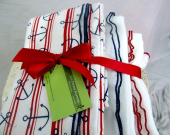 SALE - Swaddler Baby Blanket trio - Oversized - 1 Flannel, 2 Gauze - Patriotic, Navy, summer wrapping, photo props red, white, and blue