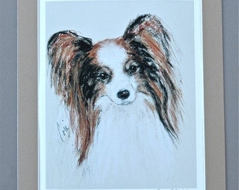 Papillon Dog Art Giclee Fine Art Print Signed and Matted By Cori Solomon