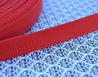 3 yards of 0.75 inch Nylon Webbing in Bright Red (Medium Weight)