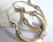 Mixed Metal Earrings - Sterling Silver And Bronze Hoop Earrings - Rustic Mixed Metal Jewelry - Metalwork Bronze Jewelry - Bronze Earrings