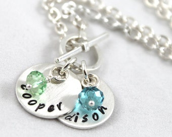 Mother's Day, Gift for Mom, Personalized Necklace, Toggle Necklace, Custom Hand Stamped, custom name, Birthstone Jewelry, Sterling Silver