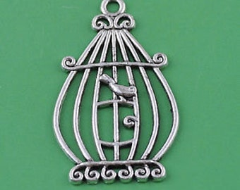 charm supplies  bird cage charms  silver    quantity 2  jewelry findings  SEW200