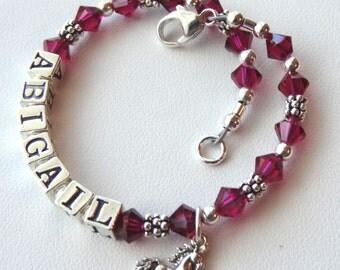 Sterling Silver  Birthstone Name Children Bracelet, Birthstone, Name Bracelet, Baby Name Bracelet, Flower Girl Bracelet, Baptism,