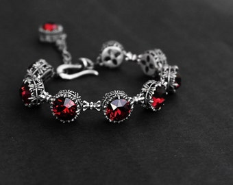 Tennis Bracelet gothic jewelry Burgundy Bracelet Swarovski Bracelet Burgundy Jewelry Oxidized Silver Dark Red gift for her