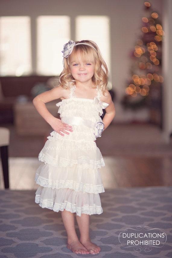 Vintage Lace Tutu Dress for Girls Ivory Flower Girl by ...  Ivory Lace Vintage Flower Girl Dress