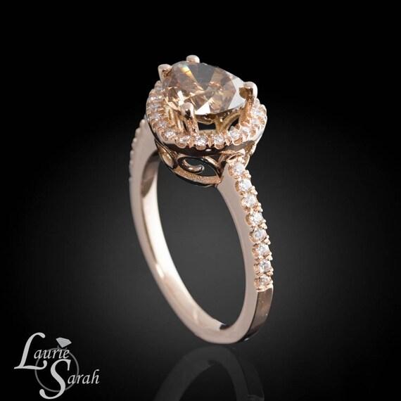Colored Diamond Wedding Ring Sets: Diamond Engagement Ring Horizontal Set Mocha Colored Diamond