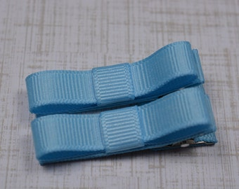 Blue Hair Clips Basic Tuxedo Clips Alligator Non Slip Barrettes for Babies Toddler Girl Set of 2