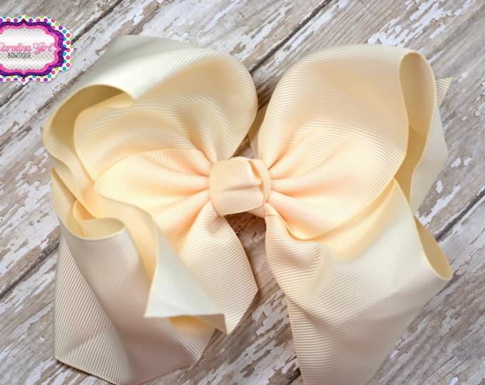 6 in. Ivory Boutique  Hair Bow - XL Hair Bow - Big Hair Bows - Girl Hair Bows