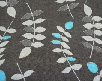 Fabric - Valori Wells, Leaves, Dark Gray, Grey, Turquoise, Quilting, Crafts, Sewing