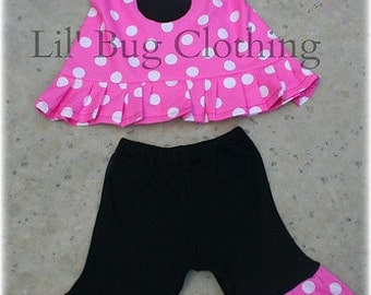 Minnie Mouse Girl Outfit, Minnie Mouse Pink Halter Outfit, Minnie MOuse Polka Dot Birthday Girl Halter & Shorts